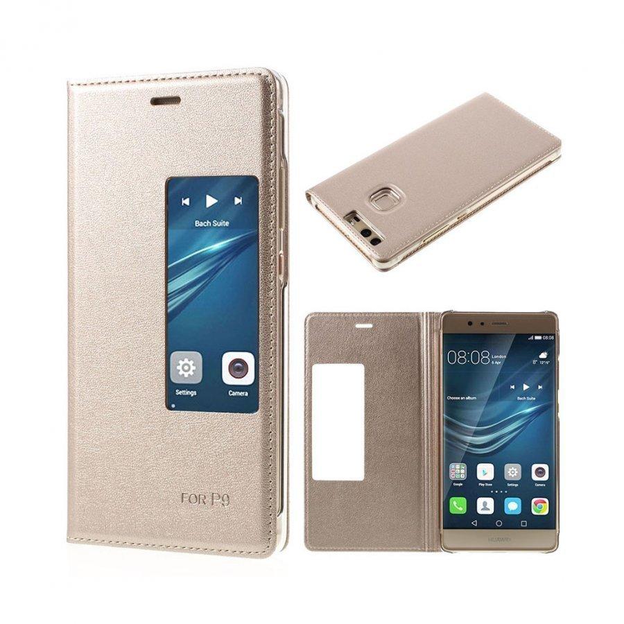 Amdrup Huawei P9 Nahkakotelo Läpällä Ja Ikkunalla Kulta