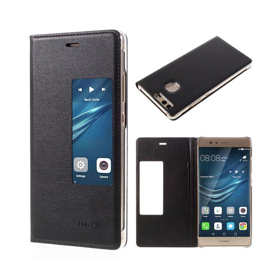 Amdrup Huawei P9 Nahkakotelo Läpällä Ja Ikkunalla Musta