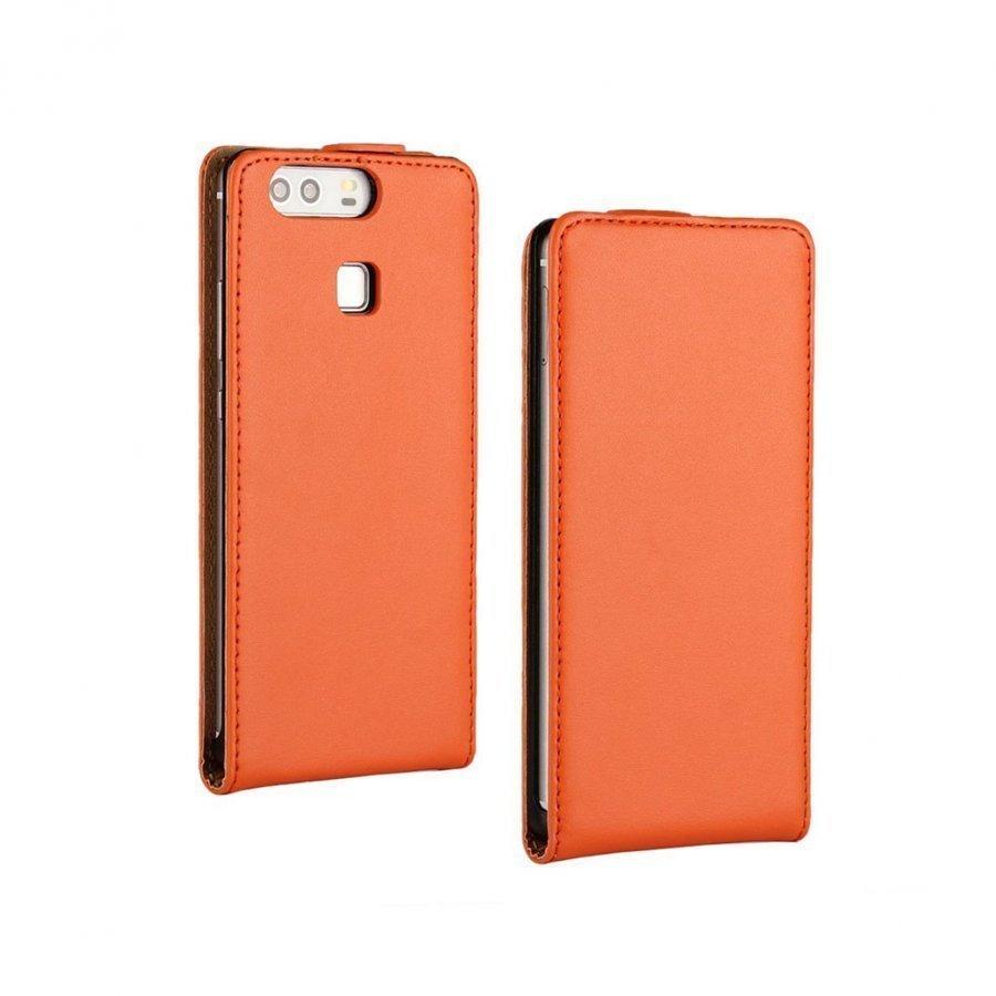 Amdrup Huawei P9 Suojaava Aito Nahkakotelo Oranssi