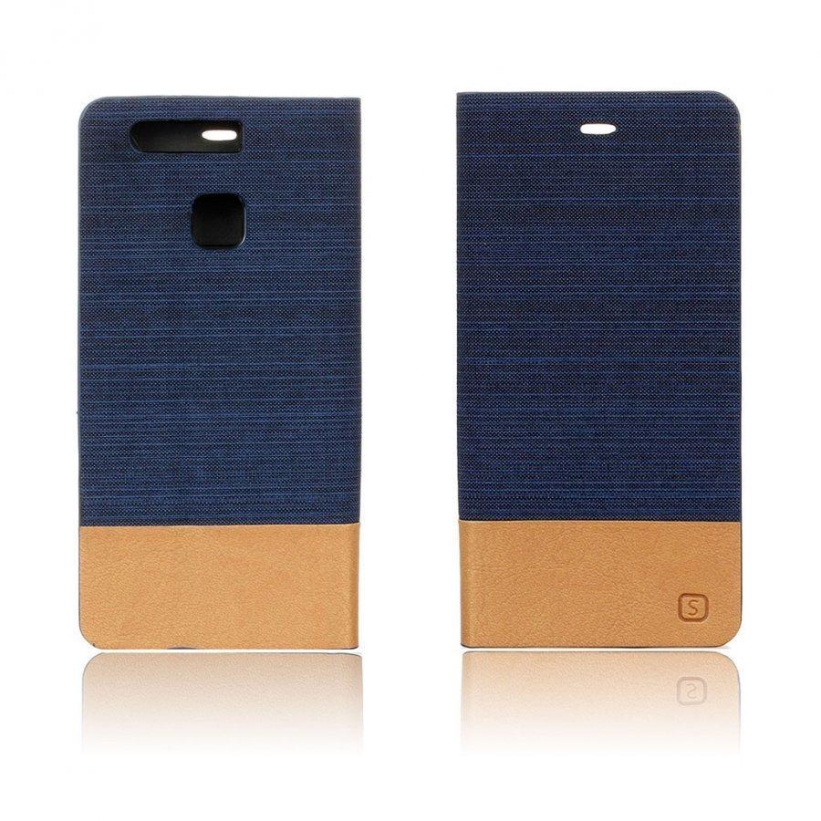 Amdrup Kaksivärinen Pellavakankainen Nahkakotelo Standillä Huawei P9 Puhelimelle Tummansininen