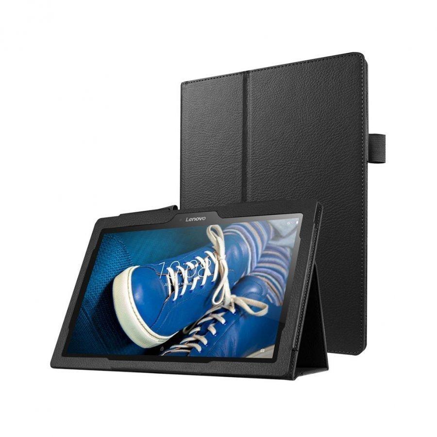 Amdrup Litsi Pintainen Nahkakotelo Lenovo Tab 2 A10-30 X30f Tabletille Musta