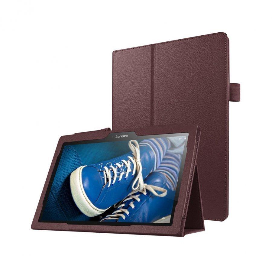 Amdrup Litsi Pintainen Nahkakotelo Lenovo Tab 2 A10-30 X30f Tabletille Ruskea