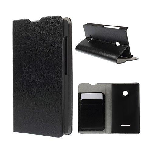 Amdrup Microsoft Lumia 435 Nahkakotelo Korttitaskuilla Musta