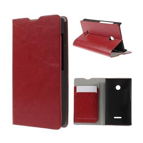 Amdrup Microsoft Lumia 435 Nahkakotelo Korttitaskuilla Punainen