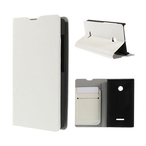 Amdrup Microsoft Lumia 435 Nahkakotelo Korttitaskuilla Valkoinen