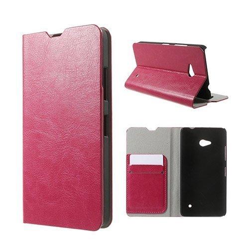Amdrup Microsoft Lumia 640 Nahkakotelo Korttitaskuilla Kuuma Pinkki