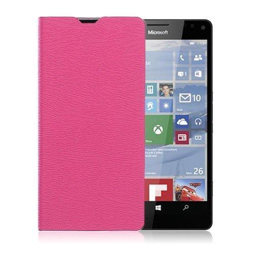 Amdrup Microsoft Lumia 950 Nahkakotelo Standillä Kuuma Pinkki