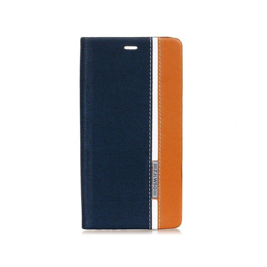 Amdrup Monivärinen Suojaava Nahkakotelo Huawei P9 Puhelimelle Tummansininen