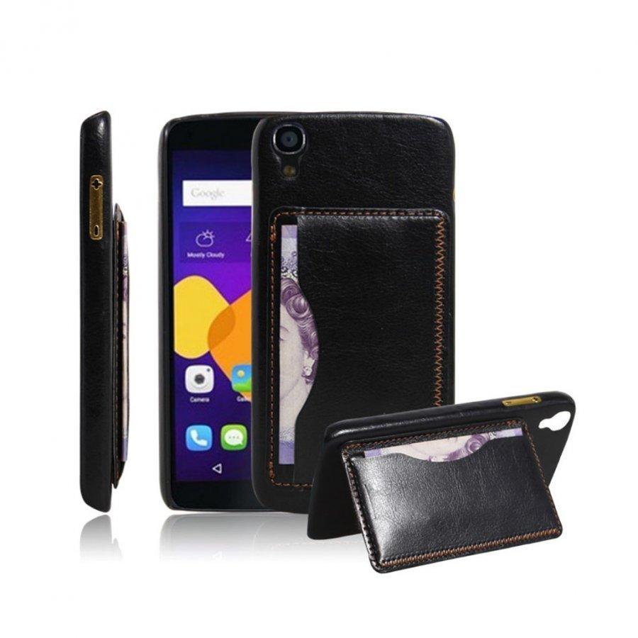 Amdrup Nahka Päällystetty Kova Takakansi Alcatel Onetouch Idol 3 5.5 Tabletille Musta