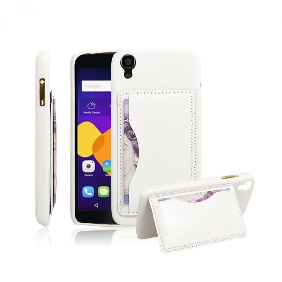 Amdrup Nahka Päällystetty Kova Takakansi Alcatel Onetouch Idol 3 5.5 Tabletille Valkoinen