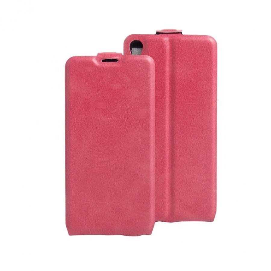 Amdrup Sony Xperia E5 Pystysuora Nahkakotelo Läpällä Tumma Pinkki