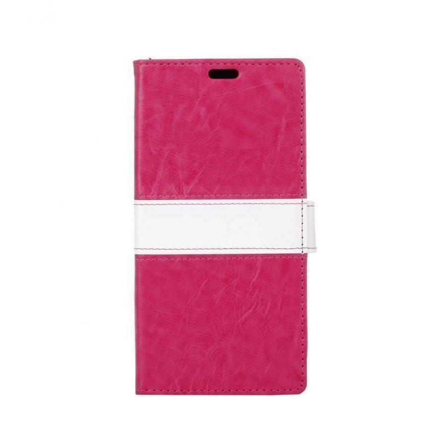 Amdrup Suojaava Nahkakotelo Lompakko Standillä Huawei P9 Puhelimelle Kuuma Pinkki