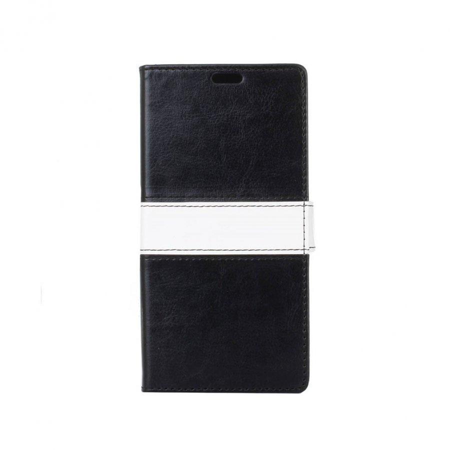 Amdrup Suojaava Nahkakotelo Lompakko Standillä Huawei P9 Puhelimelle Musta