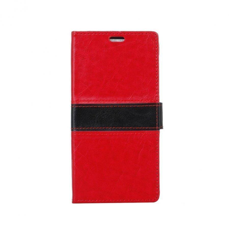 Amdrup Suojaava Nahkakotelo Lompakko Standillä Huawei P9 Puhelimelle Punainen