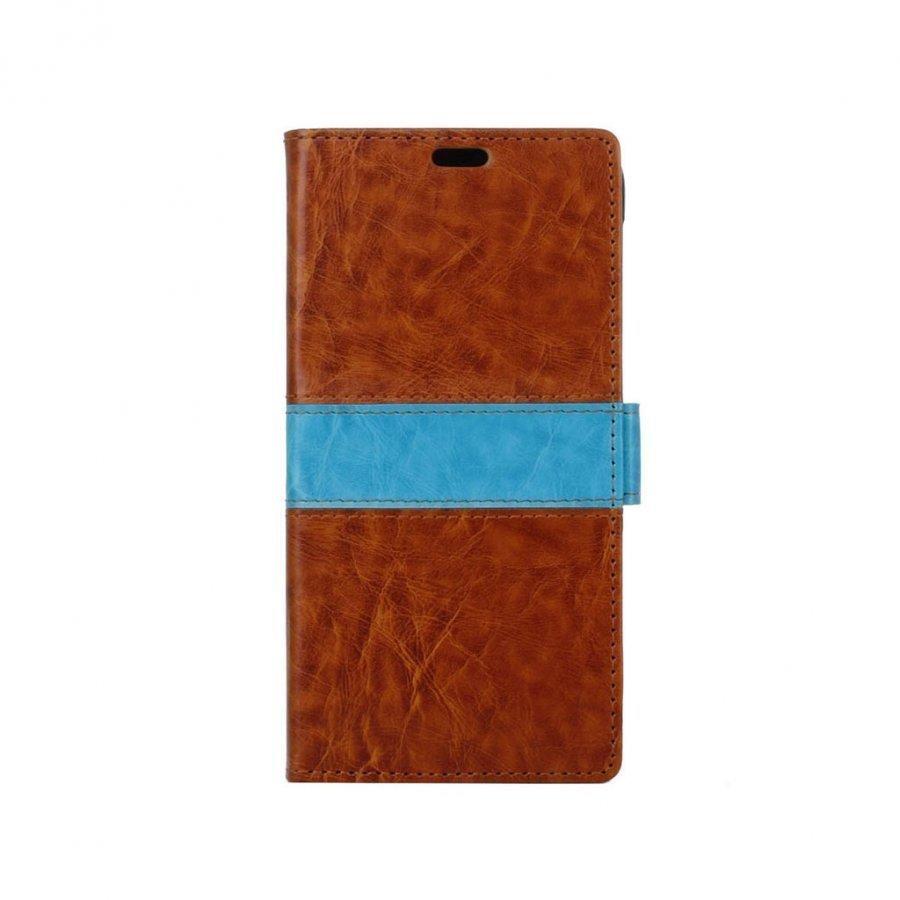 Amdrup Suojaava Nahkakotelo Lompakko Standillä Huawei P9 Puhelimelle Ruskea