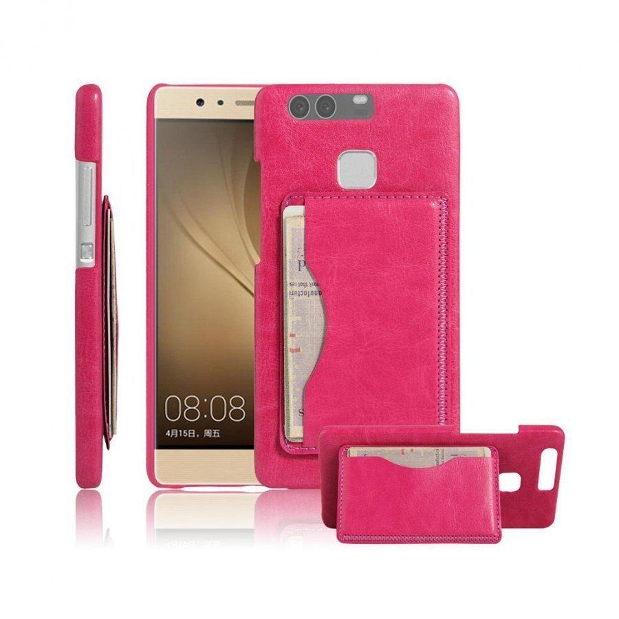Amdrup Vanhanaikainen Nahka Päällystetty Kotelo Huawei P9 Puhelimelle Jalustalla Kuuma Pinkki