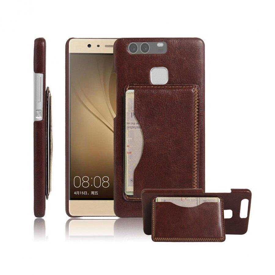 Amdrup Vanhanaikainen Nahka Päällystetty Kotelo Huawei P9 Puhelimelle Jalustalla Ruskea