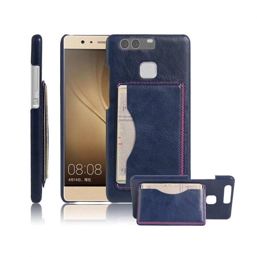 Amdrup Vanhanaikainen Nahka Päällystetty Kotelo Huawei P9 Puhelimelle Jalustalla Tummansininen