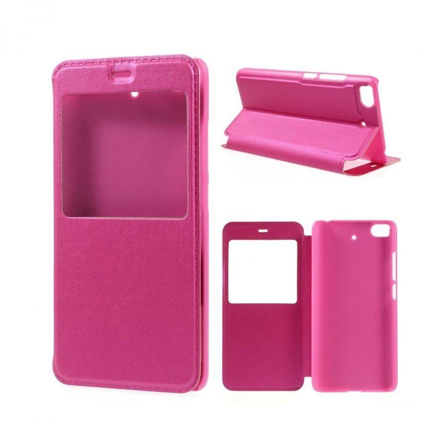 Amdrup Xiaomi Mi 5s Nahkakotelo Ikkunalla Ja Läpällä Kuuma Pinkki
