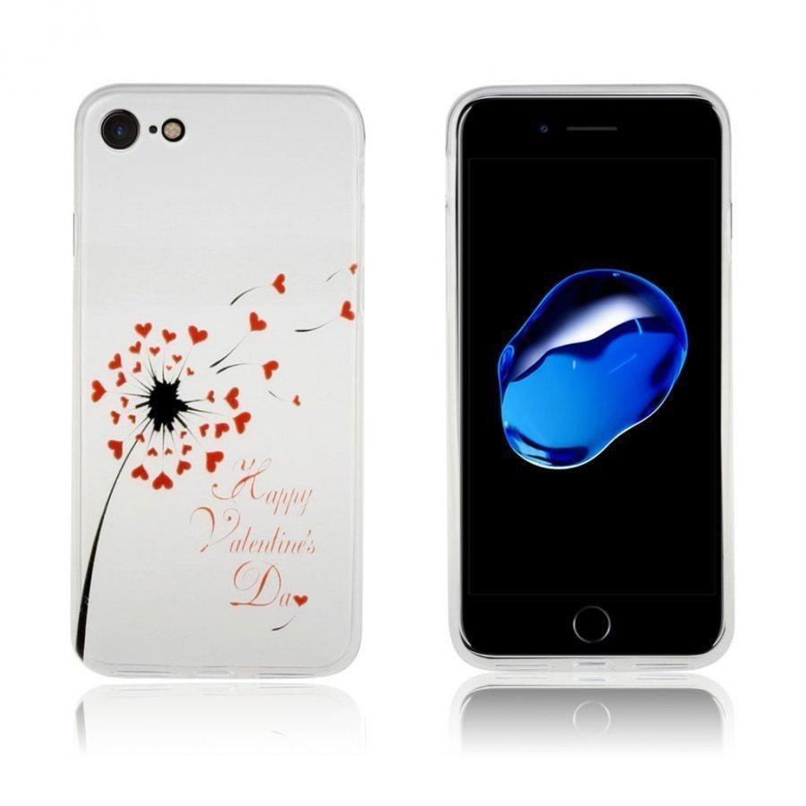Ancher Iphone 7 Joustava Muovikuori Punainen Sydän Voikukka