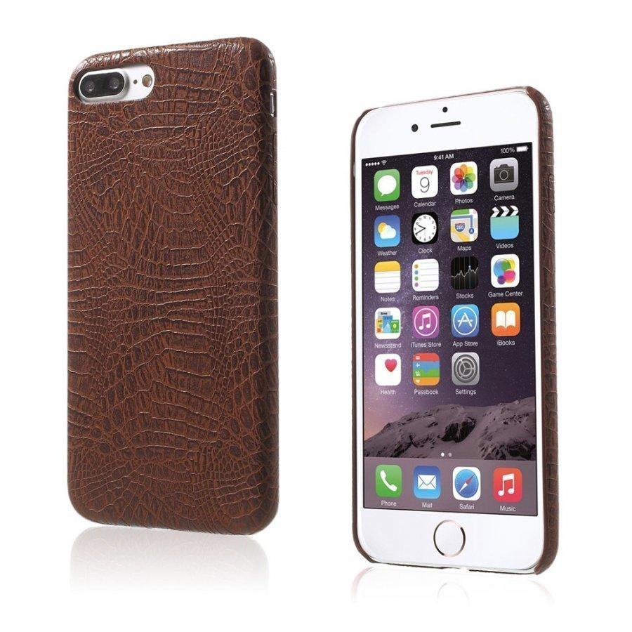 Ancher Iphone 7 Plus Krokotiilinnahka Pintainen Kuori Kahvi