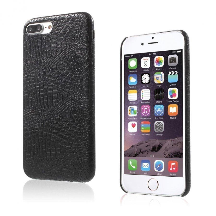 Ancher Iphone 7 Plus Krokotiilinnahka Pintainen Kuori Musta
