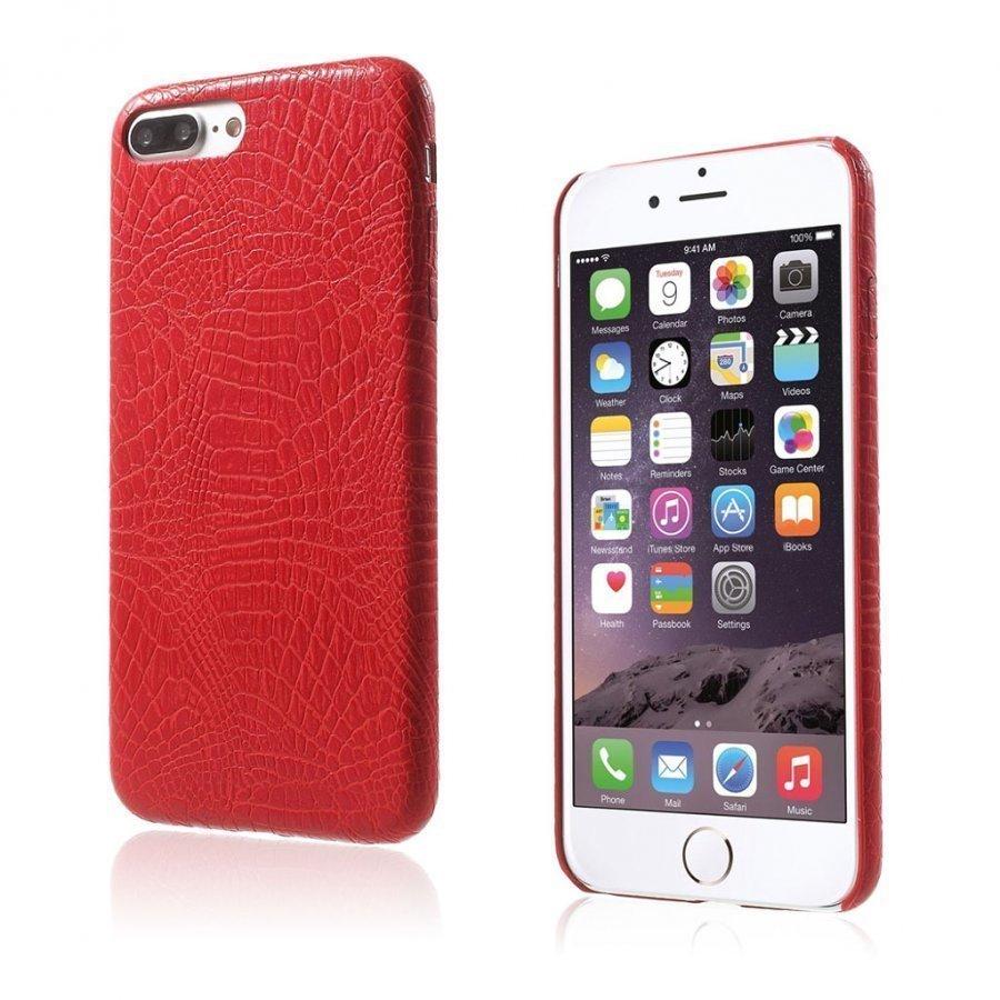 Ancher Iphone 7 Plus Krokotiilinnahka Pintainen Kuori Punainen