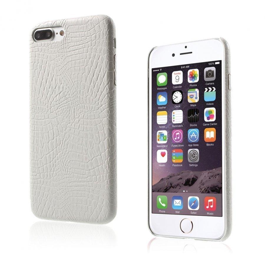 Ancher Iphone 7 Plus Krokotiilinnahka Pintainen Kuori Valkoinen