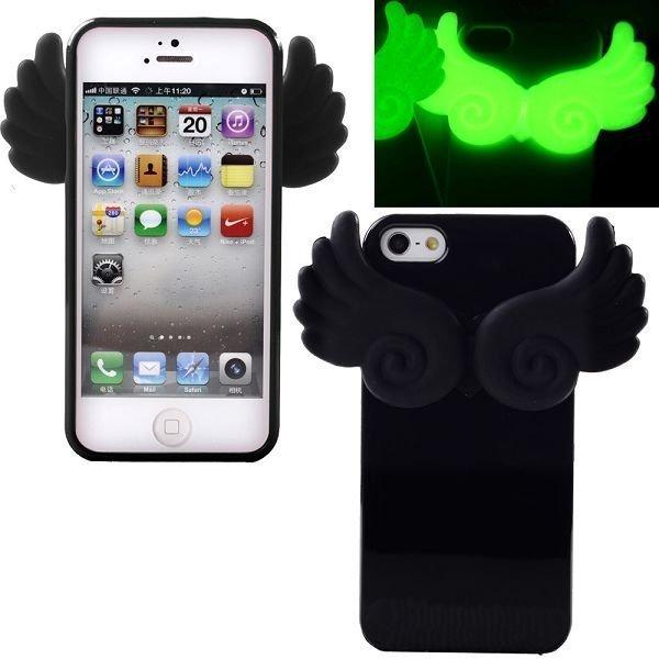 Angel Pimeässä Hohtava Musta Iphone 5 Silikonikuori