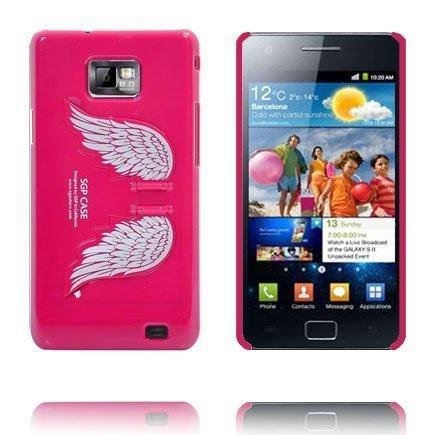 Angel Wings Standillä Kuuma Pinkki Samsung Galaxy S2 Suojakuori