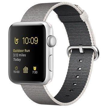 Apple Watch 2 MNNX2ZD/A Kudottu Nylonranneke 38mm Hopea / Helmenharmaa