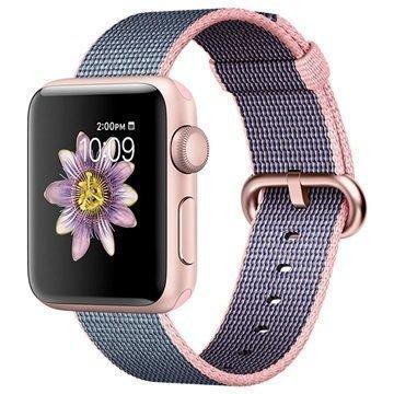 Apple Watch 2 MNP02ZD/A Kudottu Nylonranneke 38mm Ruusukulta / Vaaleanpunainen / Keskiyön Sininen