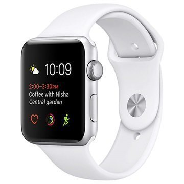 Apple Watch 2 MNPJ2ZD/A Urheiluranneke 42mm Hopea / Valkoinen