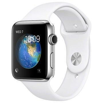 Apple Watch 2 MNPR2ZD/A Ruostumaton Teräskuori Urheiluranneke 42mm Hopea / Valkoinen