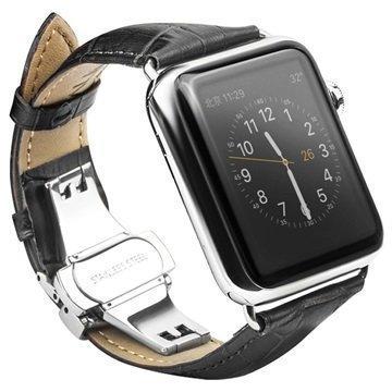 Apple Watch Qialino Nahkaranneke 42mm Musta