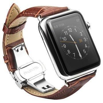 Apple Watch Qialino Nahkaranneke 42mm Ruskea