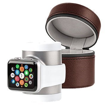 Apple Watch Techlink Recharge Power Bank & Travel Case Silver / Brown