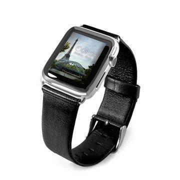 Apple Watch Tuff-luv Nahkaranneke 42mm Musta