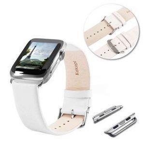 Apple Watch Tuff-luv Nahkaranneke 42mm Valkoinen