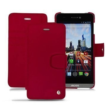 Archos 50 Helium 4G Noreve Tradition B Wallet Leather Case Red