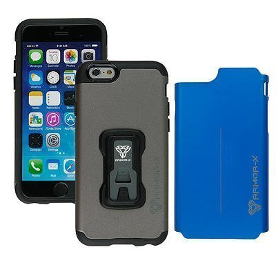 Armor-X Rugged iPhone 6 Kotelo Harmaa & Sininen