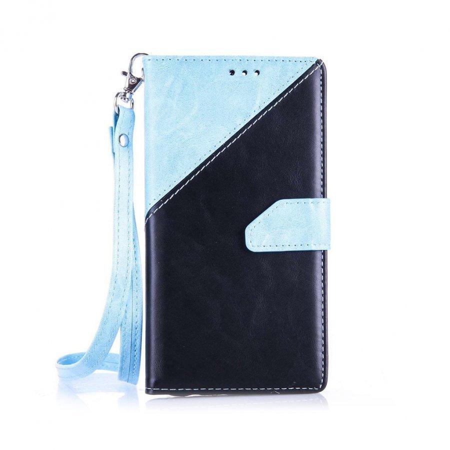 Arnoldi Pu Nahkakotelo Lompakko Standillä Huawei P9 Puhelimelle Sininen / Musta