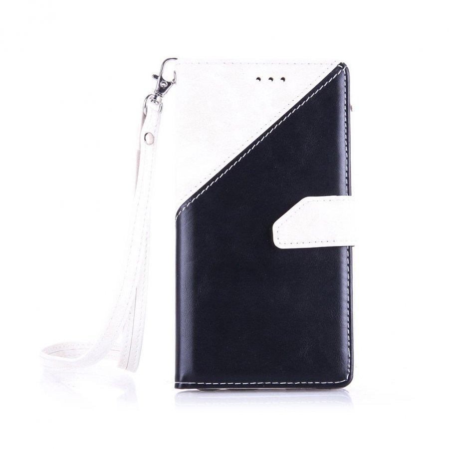 Arnoldi Pu Nahkakotelo Lompakko Standillä Huawei P9 Puhelimelle Valkoinen / Musta