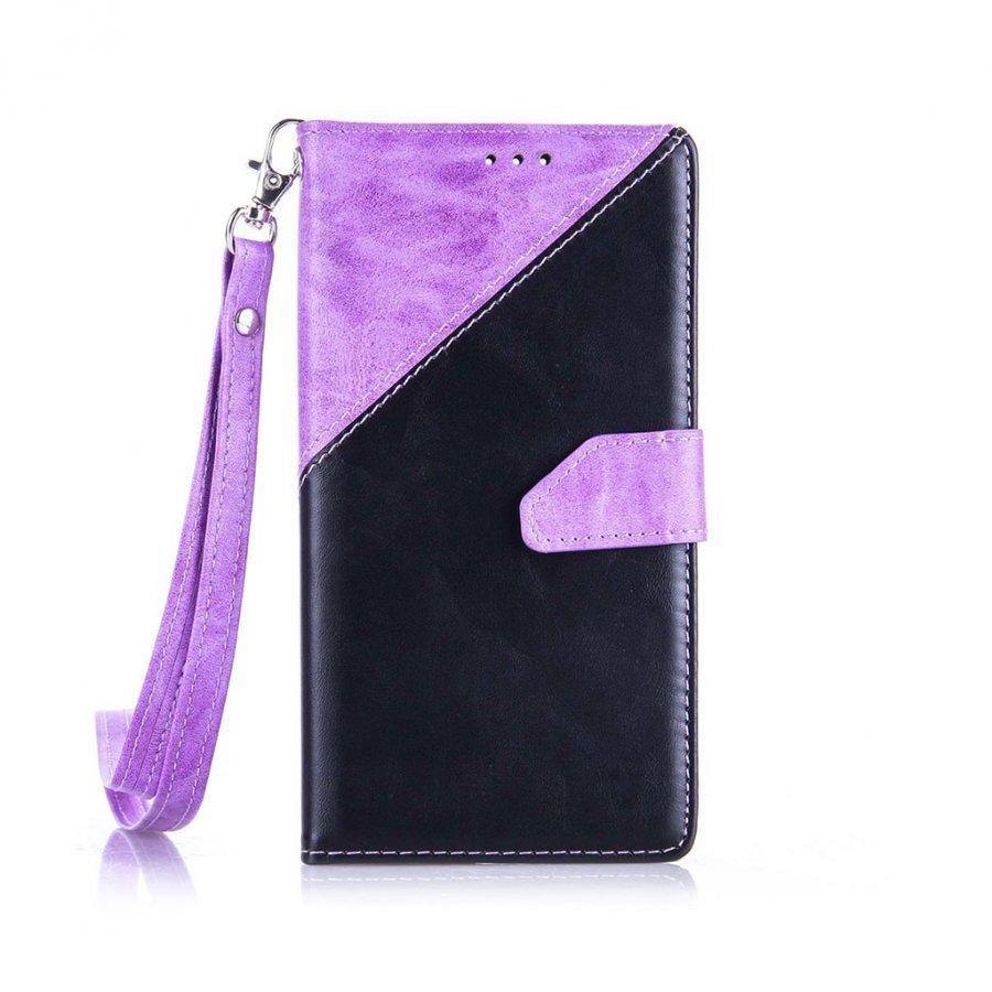Arnoldi Pu Nahkakotelo Lompakko Standillä Huawei P9 Puhelimelle Violetti / Musta