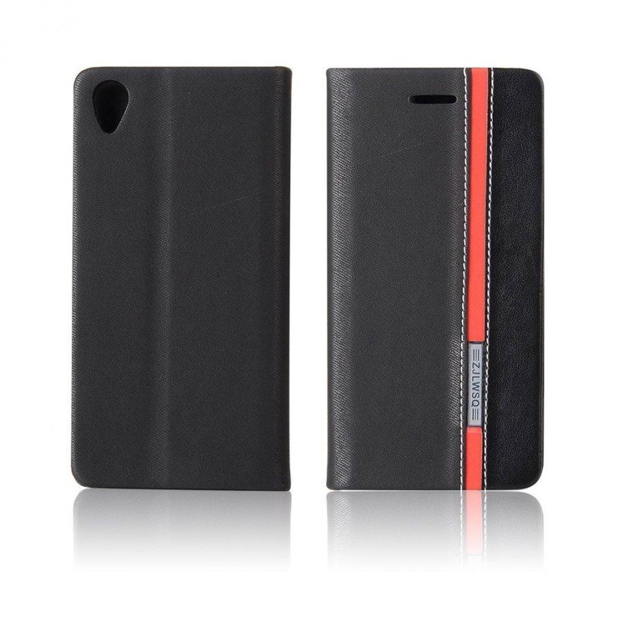 Arnoldi Sony Xperia X Performance Kaksisävyinen Nahkakotelo Musta