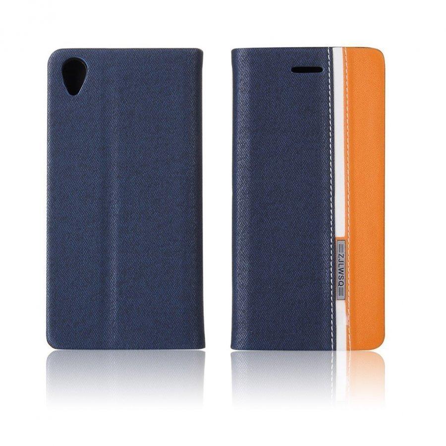 Arnoldi Sony Xperia X Performance Kaksisävyinen Nahkakotelo Tummansininen