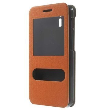 Asus PadFone X PadFone S Kaksois-ikkuna Avattava Nahkakotelo Oranssi