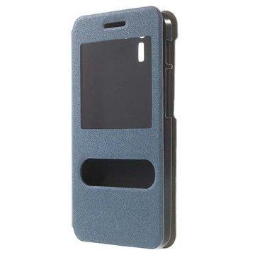 Asus PadFone X PadFone S Kaksois-ikkuna Avattava Nahkakotelo Sininen