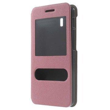 Asus PadFone X PadFone S Kaksois-ikkuna Avattava Nahkakotelo Vaaleanpunainen