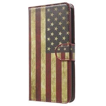 Asus Zenfone 2 ZE551ML Zenfone 2 ZE550ML Tyylikäs Lompakkokotelo Vintage American Flag